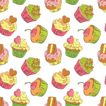 cupcakes isolated: Cupcake, muffin. Vector seamless pattern (background).