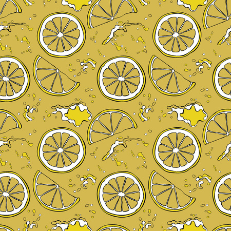 juicy: Lemon. Juicy fruit. Fruit splashes and drops. Spots juice. Vector seamless pattern (background).