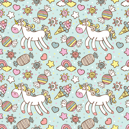 doodling: Unicorn. Ice cream, candy. Rainbow and cloud. Sprockets, hearts and circles. Vector seamless pattern (background).