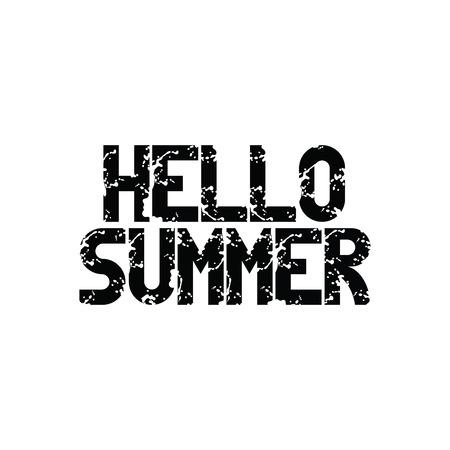 letras negras: Hola Verano. letras negras. Letras. vector aislado en el fondo blanco.
