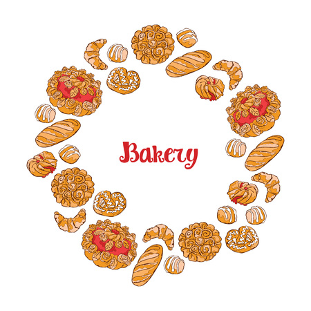 bakery products: Bakery. Bread. Bakery products. Frame - wreath.