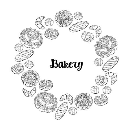 Bakery. Bread. Bakery products. Frame - wreath.