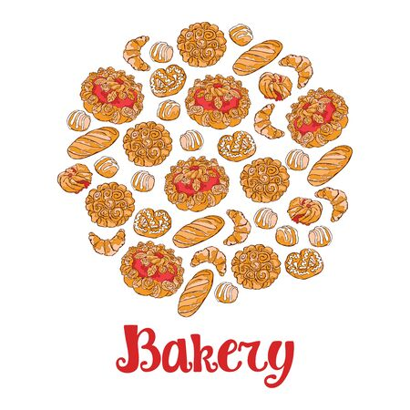 bakery products: Bakery. Bread. Bakery products. Isolated vector objects on white background.