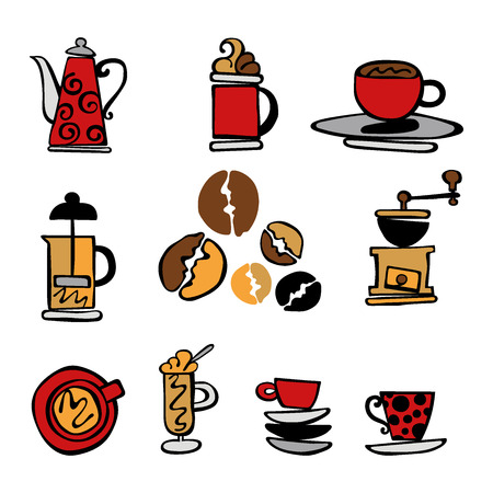 Coffee. Set. Coffee and coffee cup. Isolated vector objects on white background.