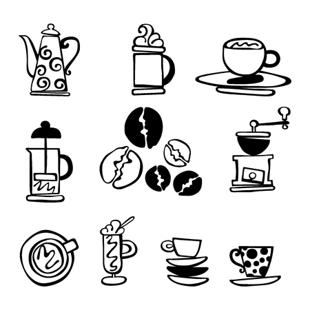 coffee cup isolated: Coffee. Set. Coffee and coffee cup. Isolated vector objects on white background.