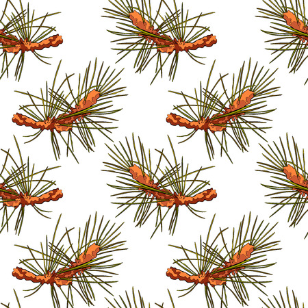 twigs: Spruce twigs. Spruce needles. Seamless vector pattern (background).