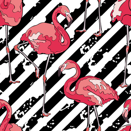 Colorful pink flamingos. Striped background. Seamless vector pattern.