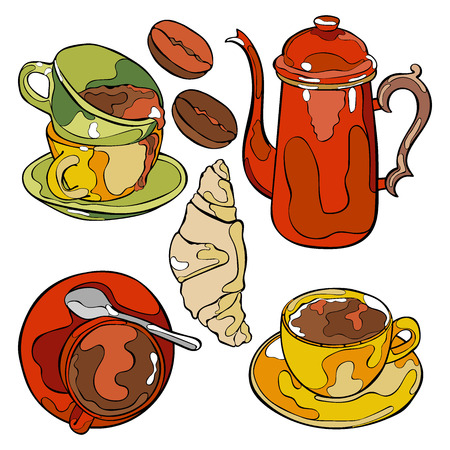 hot drink: Hot drink. Coffee pot and coffee cup. Isolated vector objects on white background.