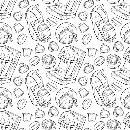 hot drink: Hot drink. Coffee pot and coffee cup. Seamless vector pattern (background).