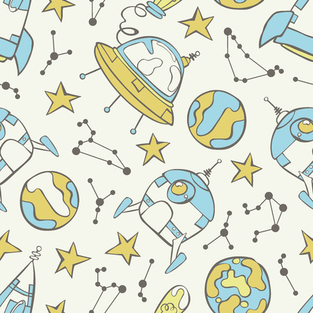 flying saucer: Space print. Rocket, flying saucer, planets and stars. Seamless vector pattern (background). Illustration