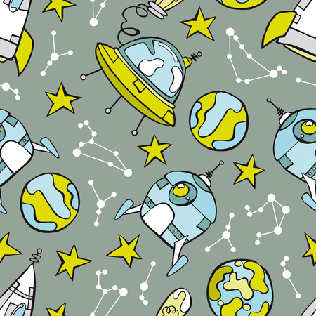 ?flying saucer?: Space print. Rocket, flying saucer, planets and stars. Seamless vector pattern (background). Vectores