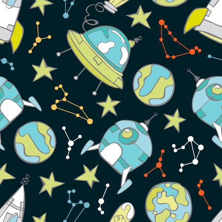 platillo volador: Espacio de impresión. Cohete, platillo volante, los planetas y las estrellas. Sin fisuras vector patrón (fondo).