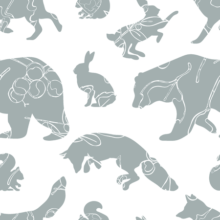 bear berry: Forest animals: bear, fox, hare and squirrel. Leaves, acorns and berries. Seamless vector pattern (background).