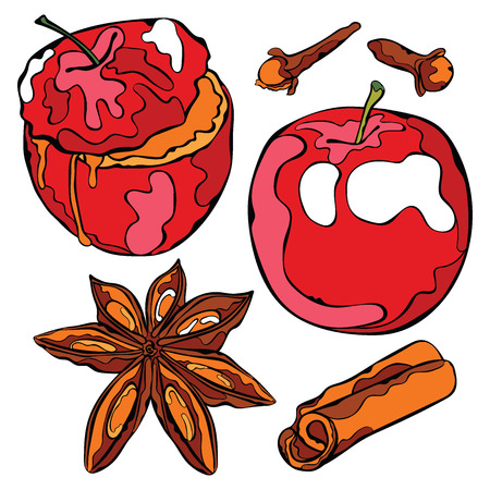apple cinnamon: Baked apple and spices. Isolated vector objects on white background.