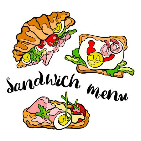 jamon y queso: Emparedado. Sándwich con huevo. Tomate, lechuga, jamón, queso. vector de objetos aislados sobre fondo blanco.