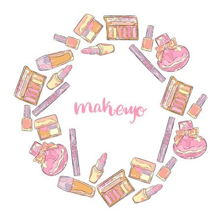 Makeup. Cosmetics: perfume, eye shadow, blush, lipstick, mascara, nail polish, foundation. Frame - wreath.