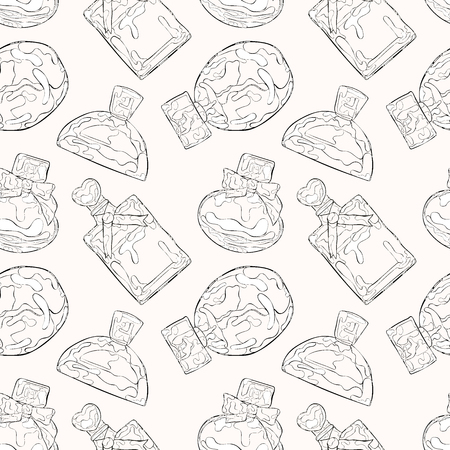 perfumery: Perfumery. Beautiful vials. Seamless vector pattern (background).