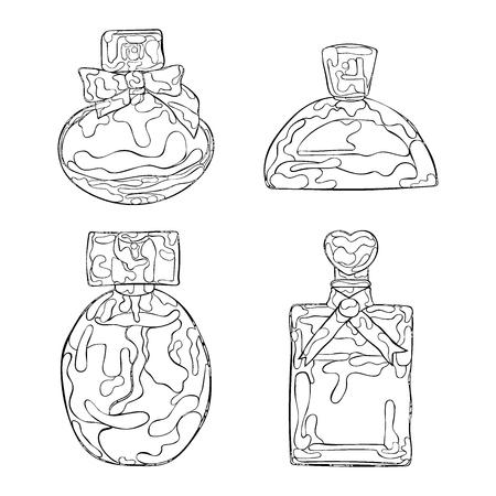 Parfumerie. Belles flacons. vecteur isolé objets sur fond blanc. Vecteurs