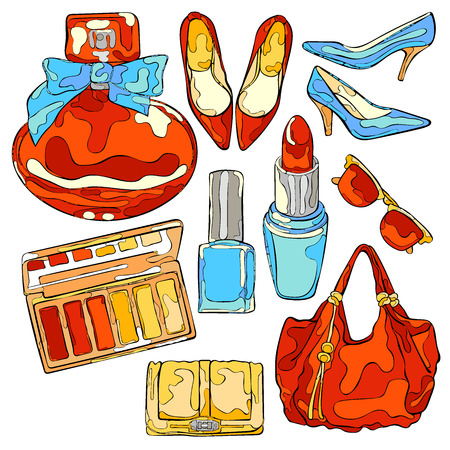 sunglasses isolated: Women things: high heel shoes, ladies handbag, cosmetics, perfumes, sunglasses. Isolated vector objects on white background.