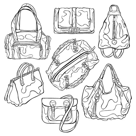 bad girl: Ladies` Bags. Set. Isolated vector objects on white background. Illustration