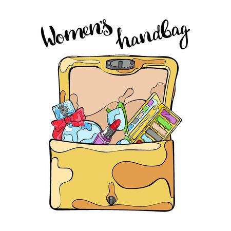 perfumery: Womens handbag. Perfumes, cosmetics (eye shadow, lipstick), sunglasses. Isolated vector object on white background. Lettering. Illustration