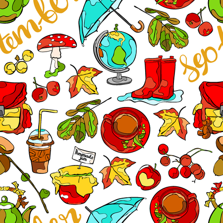 rubber boots: September. Teapot and tea cup. Umbrella and rubber boots. Leaves, acorns and berries. School backpack and globe. Seamless vector pattern (background).