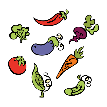 carrot juice: Vegetables: tomatoes, eggplant, peas, cucumber, carrots, beets, broccoli and hot pepper. Isolated vector objects on white background. Illustration