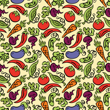 carrot juice: Vegetables: tomatoes, eggplant, peas, cucumber, carrots, beets, broccoli and hot pepper. Seamless vector pattern (background). Illustration