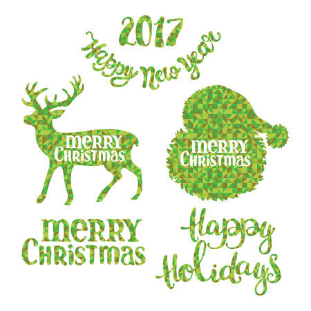 diamonds isolated: Merry Christmas. Happy New Year. Happy Holidays. Santa Claus. Deer. Christmas set. Green diamonds. Isolated object on white background.