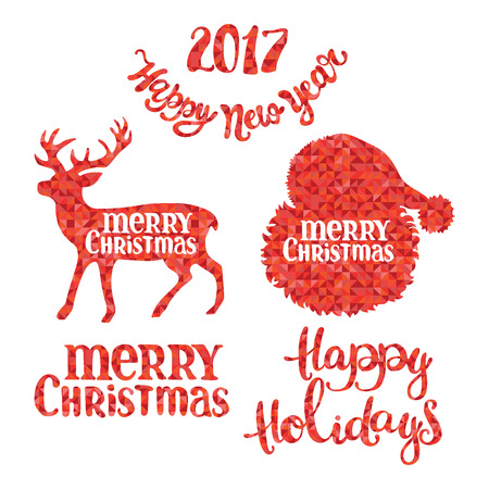 diamonds isolated: Merry Christmas. Happy New Year. Happy Holidays. Santa Claus. Deer. Christmas set. Red diamonds. Isolated object on white background. Illustration