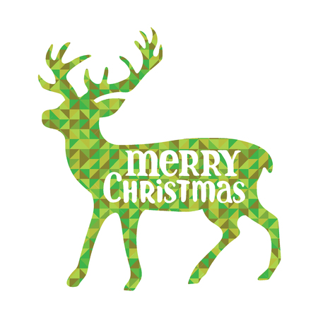 diamonds isolated: Deer. Merry Christmas. Green diamonds. Isolated object on white background.