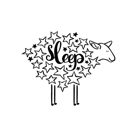 animal time: Sleep. Sheep and stars. Isolated object on white background. Illustration