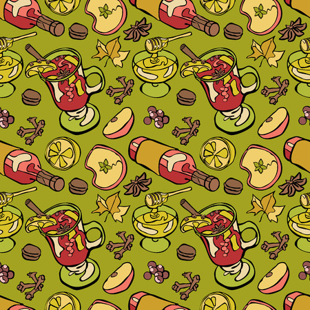 green apple slice: Hot drink. Mulled wine. Spices and wine. Honey. Seamless vector pattern (background). Illustration