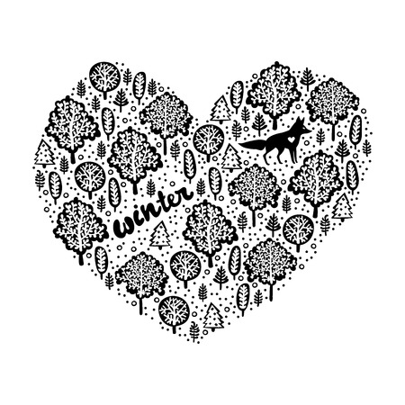 Winter. Forest and trees. Heart. Fox. Lettering. Isolated vector object on white background. Illustration