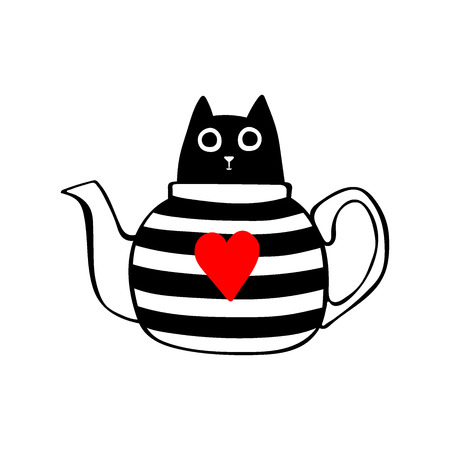 Black Cat in teapot. Striped teapot. Red heart. Isolated vector object on white background.