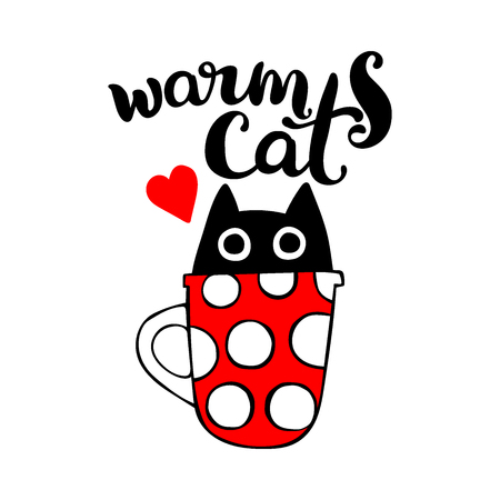 red cup: Warm cat. Lettering. Black cat in mug. Red cup with white polka dots. Red heart. Isolated vector object on white background.