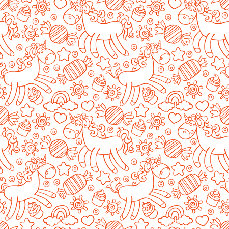 Unicorn. Candy and cupcakes. Seamless vector pattern (background).