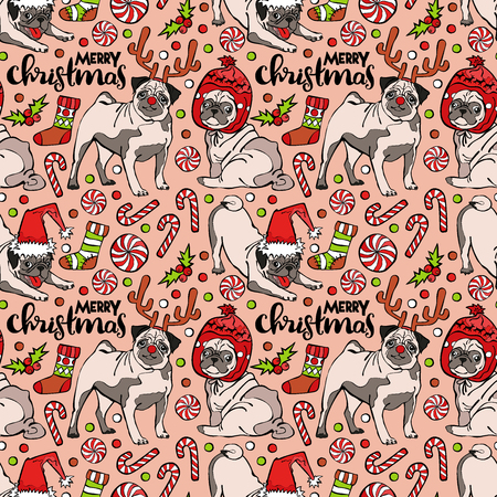 pug dog: Pug dog. Merry Christmas. Seamless vector pattern (background).