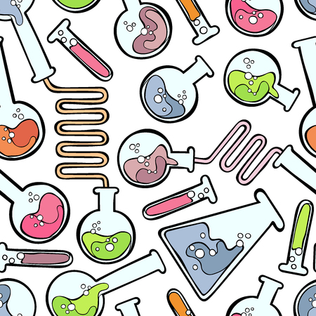 vials: Chemical test tubes. Seamless vector pattern (background).