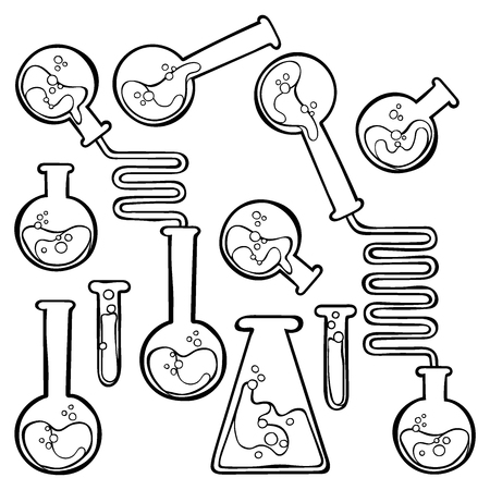 vials: Chemical test tubes. Isolated vector object on white background.