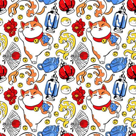 talismán: Fondo japonés: Tetera de la loza de barro, flor de loto, peces de colores, ventilador, una linterna. Japonesa suerte talismán encanto: Maneki Neko. Sin fisuras vector patrón (fondo).