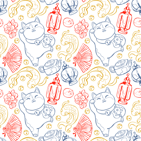 neko: Japanese background: earthenware teapot, lotus flower, goldfish, fan, flashlight. Japanese lucky charm talisman: Maneki Neko. Seamless vector pattern (background). Illustration