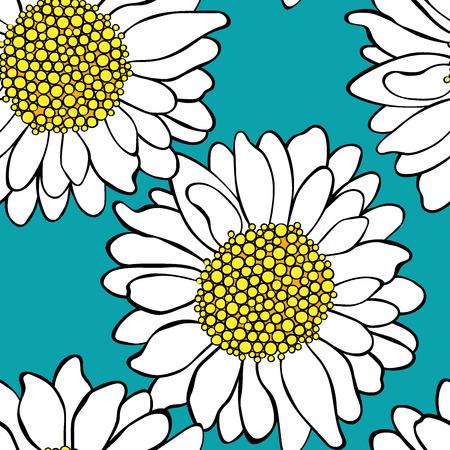 Manzanilla. Estampado floral. Sin fisuras vector patrón (fondo).