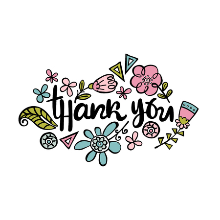 Thank you. Flowers. Lettering. Isolated vector object on white background.
