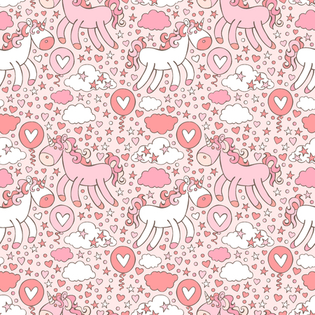 Pink unicorn. Hearts and stars. Seamless vector pattern background. Illustration