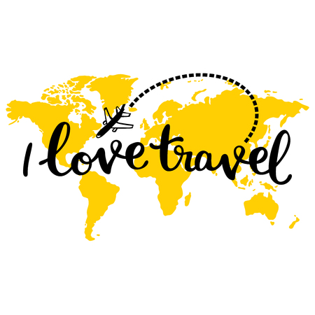 Yellow map of world. I love travel. Aircraft. Isolated vector object on white background.