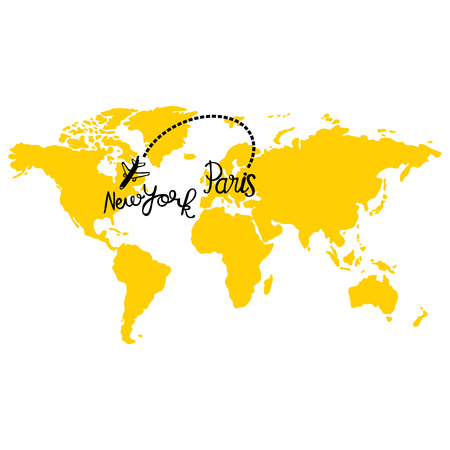 Yellow map of world. Aircraft. Paris and New York. Isolated vector object on white background. Ilustração