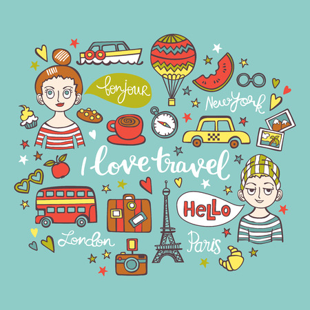 watermelon boat: I love travel. Boy and girl. Paris. London. New York. Lettering. Isolated vector objects on white background.