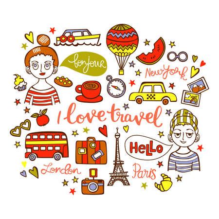 I love travel. Boy and girl. Paris. London. New York. Lettering. Isolated vector objects on white background.