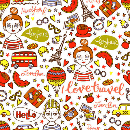 watermelon boat: I love travel. Boy and girl. Paris. London. New York. Lettering. Seamless vector pattern (background).